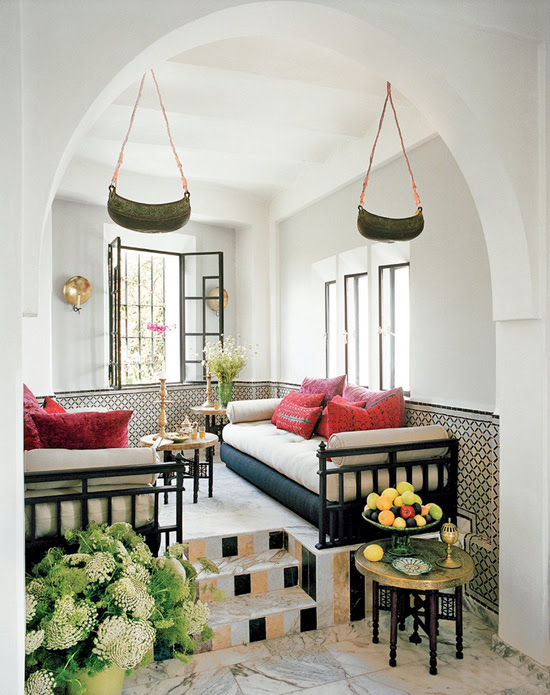 Safari Fusion blog | ushion stack | A cosy corner in an eclectic style Moroccan home in Tangiers
