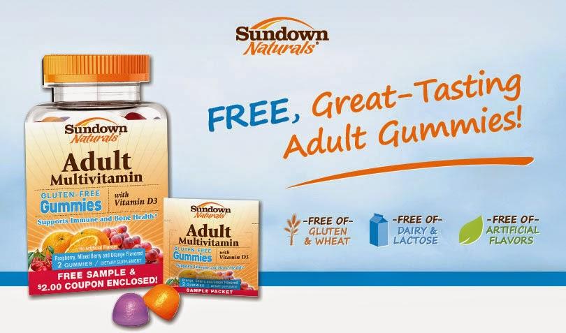 un paquet d'échantillon gratuit pour adultes multi Gummy en plus d'un coupon de 2,00 $ à tout produit Sundown Naturals adultes Gummy