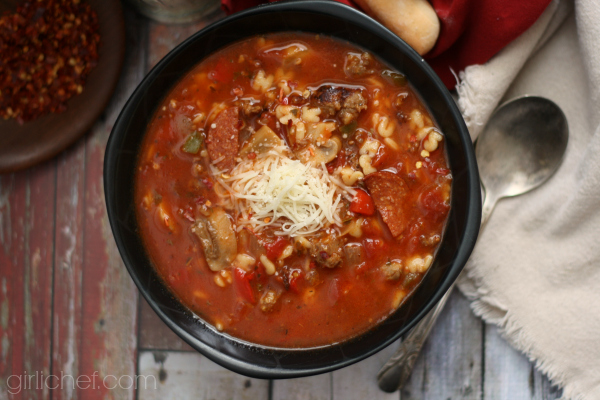Supreme Pizza Soup | www.girlichef.com