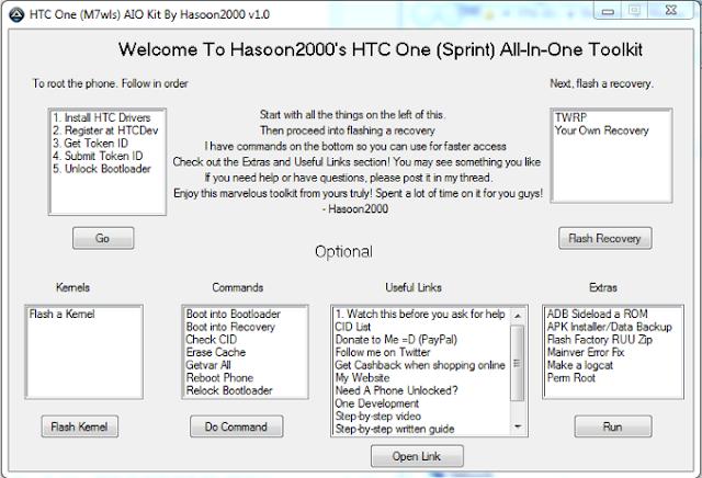 El HTC One apenas esta saliendo a la venta en muchos países alrededor del mundo, ayer la compañía anunciaba la disponibilidad en varias tiendas y distribuidores de Estados Unidos. Sin embargo, para quienes tengan la fortuna de tenerlo o piensen hacerlo en un futuro, nunca está de más presentar las herramientas necesarias para darle nuestro toque personal o mejorar el dispositivo. Así el HTC One ya cuenta con na herramienta llamada All-in-One Toolkit creada por el desarrollador Hasoon2000 en XDA developers. Esta herramienta es un compendio de códigos que nos ayudarán a rootear o desbloquear el bootloader del equipo, e