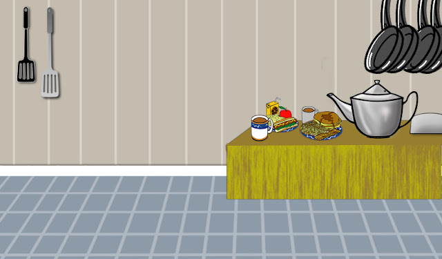 Design Photography: Kitchen Cartoon From Game HD Background Image