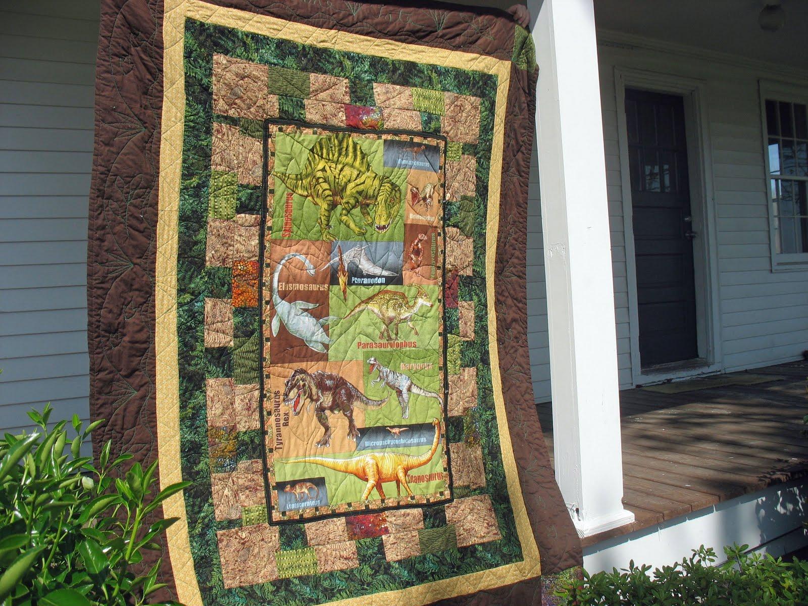 piece-fulness: Grandson s Dinosaur Quilt