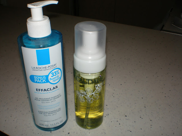 Cleansing prodcuts: La roche-posay purifying foaming gel and Caudalie Instant foaming cleanser