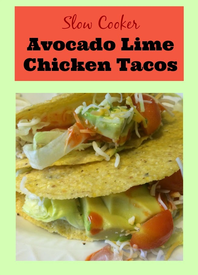 Avocado Lime Chicken Tacos, Recipes for slow cooker, Crockpot chicken tacos.