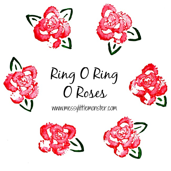 Ring o ring o roses nursery rhyme printing craft for toddlers, preschoolers, eyfs