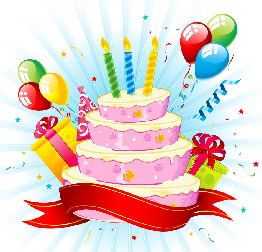 Торт картинка с днем рождения рисованный