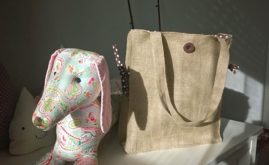 Bolsa rectangular multiusos con tela de saco manualidades - Bolsas de tela manualidades ...