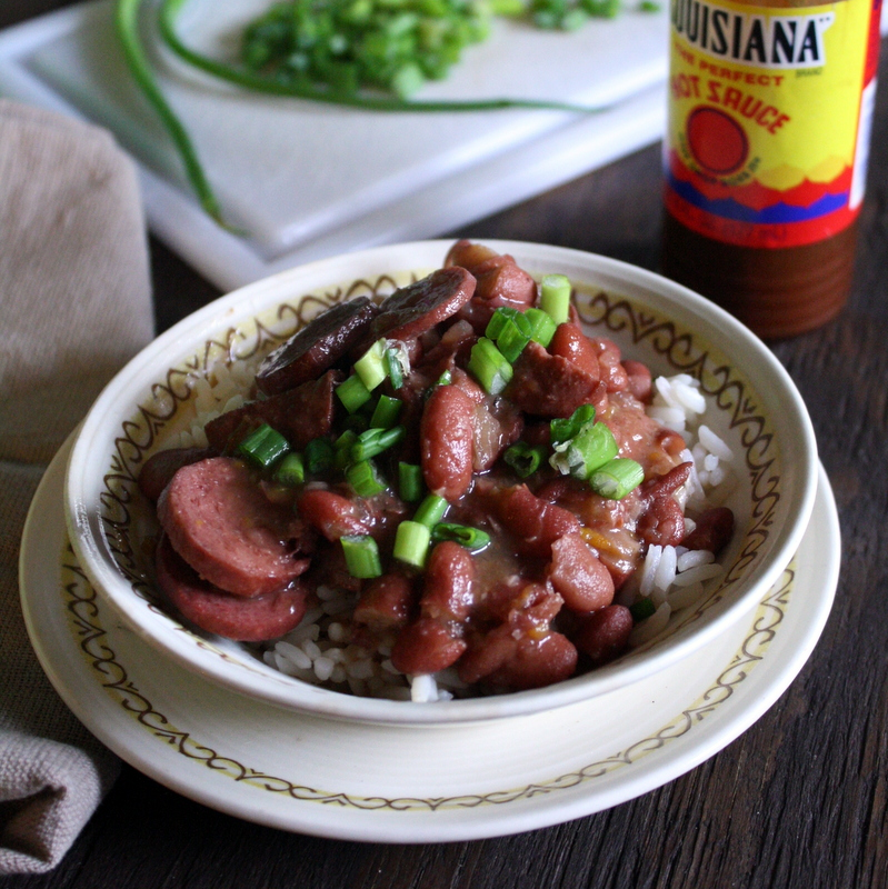 Slow Cooker Cajun-Style Red Beans & Sausage over Rice