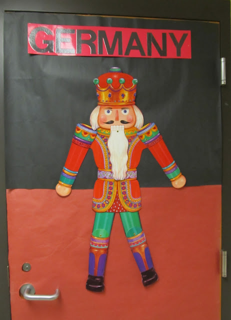 photo of: Christmas Decorated Door Celebrating Germany (Christmas Bulletin Board RoundUP via RainbowsWithinReach)