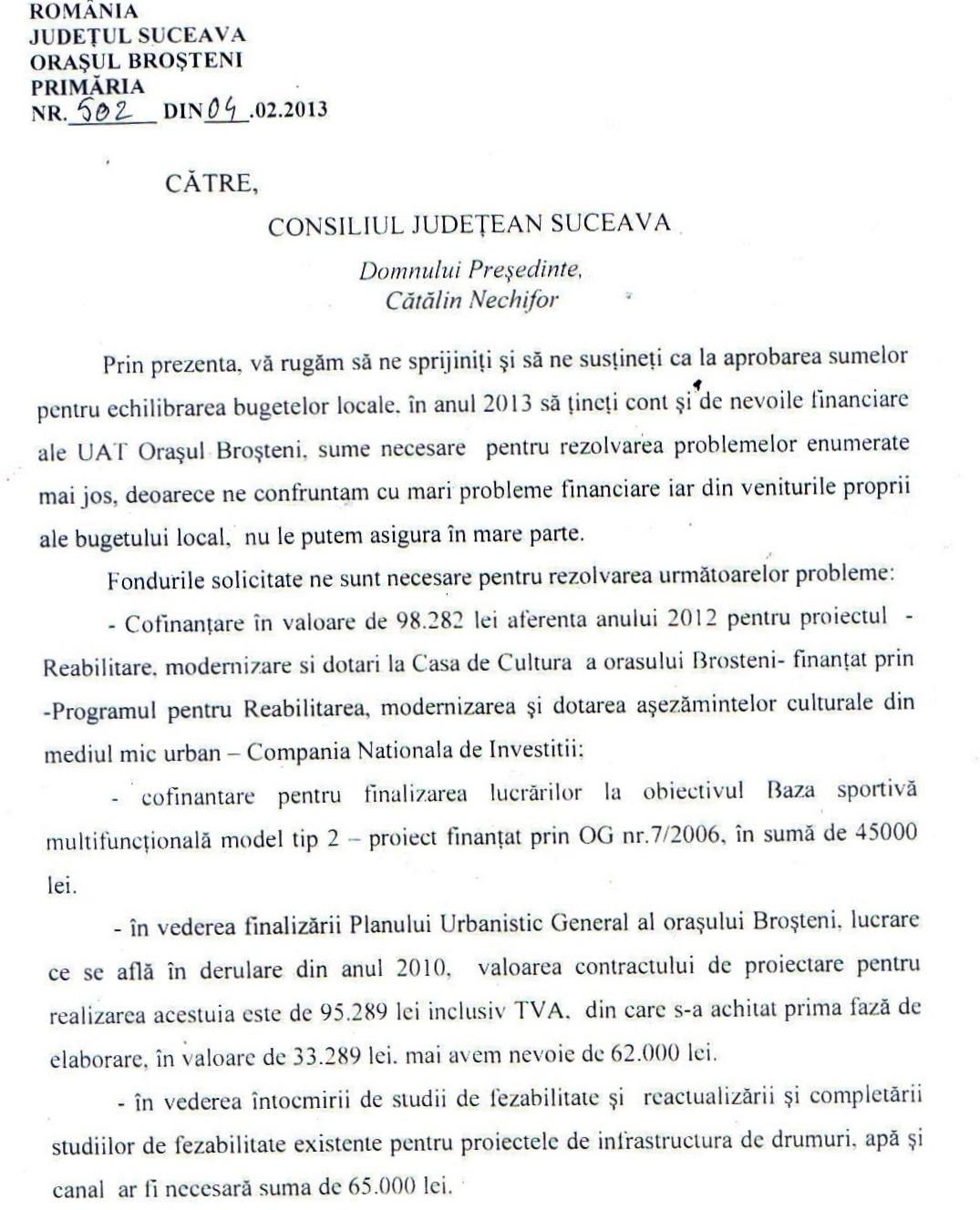Adresa Catre Consiliul Judetean Suceava Primaria Oras