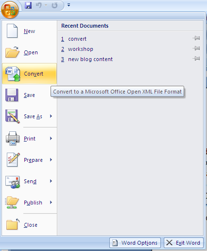 Tech avail how to convert older office documents to office 2007 format - Open office convert to word ...