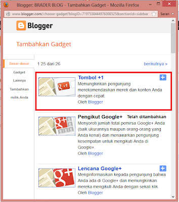 Cara Mambuat Widget Google +1 di Blog