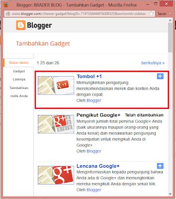 Cara Mambuat Widget Google +1 di Blog