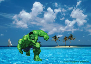 Wallpapers of The Incredible Hulk Free Green Monster Tries to grab you Blue island Wallpaper