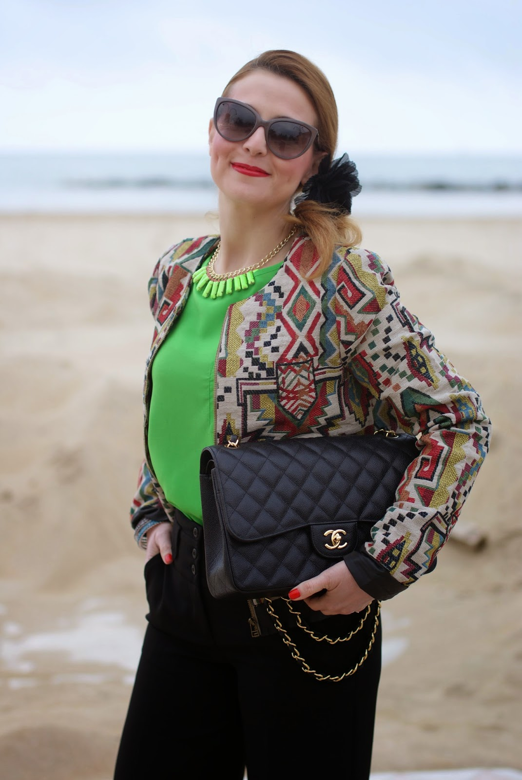 Chanel 2.55 classic flap bag, neon green blouse, Paramita jacket, bomber jacket, Moliabal elastico capelli, palazzo pants, Lunatic pantaloni, sided ponytail, Fashion and Cookies fashion blog, fashion blogger
