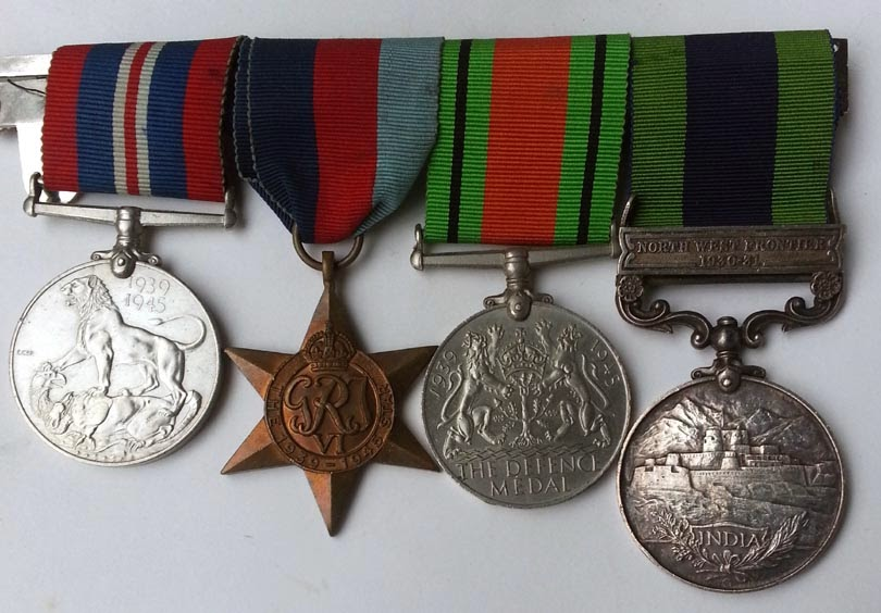 WW2 War medal, 1939-45 Star, Defence Medal and India General Service medal.