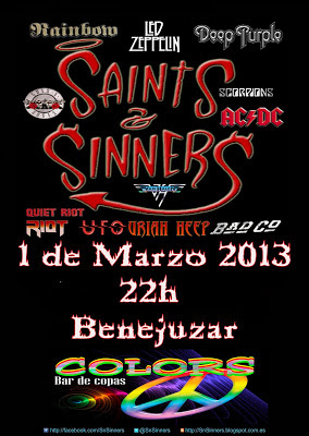 Cartel para actuación de Saints n Sinners en Colors Benejuzar 1-3-2013