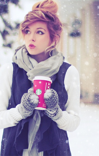 Scarf, white sweater, black jacket and gloves for winter