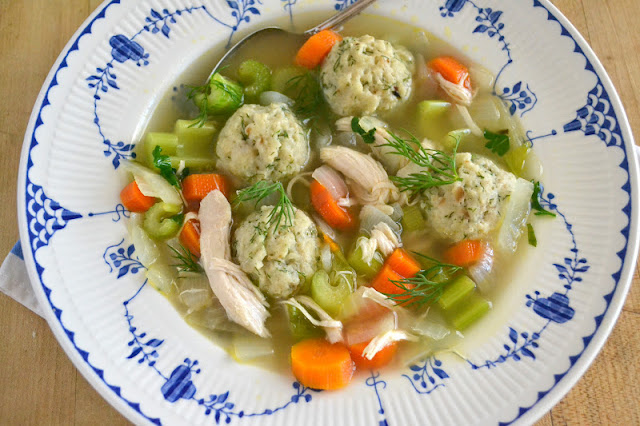 dilled matzo ball soup, from scratch