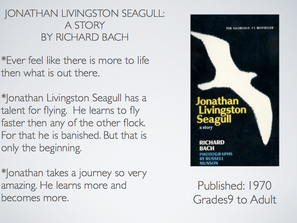 jonathan livingston seagull written by richard bach Richard bach jonathan livingston seagull to the real jonathan seagull, who lives within us all part one.
