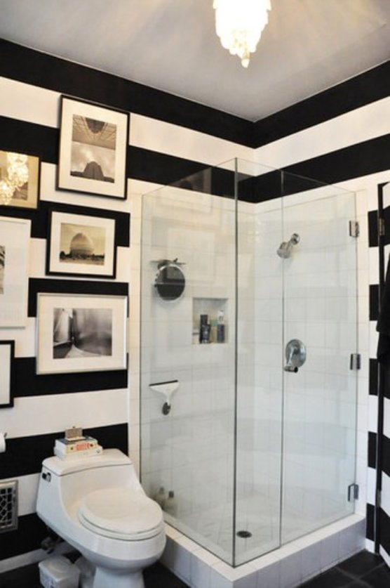 to da loos black white striped walls