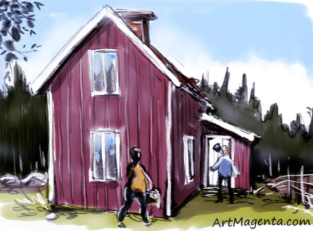 Summer house is a sketch by artist and illustrator Artmagenta