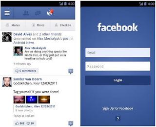 Hình ảnh ứng dụng facebook trên thiết bị di động Android