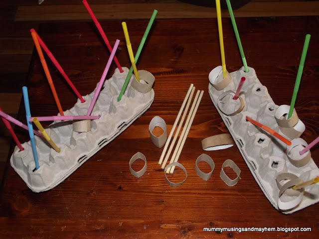 Toddler fine motor threading fun