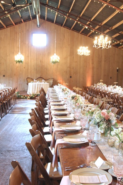 Long barn wood guest tables for barn wedding rustic chic textured ivory blush and sage centerpieces with garden roses, ranunculus, astilbe, astrantia, succulents, sweet pea floral design detroit ann arbor