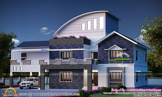 Super Stylish Mix Roof House Plan Kerala Home Design And