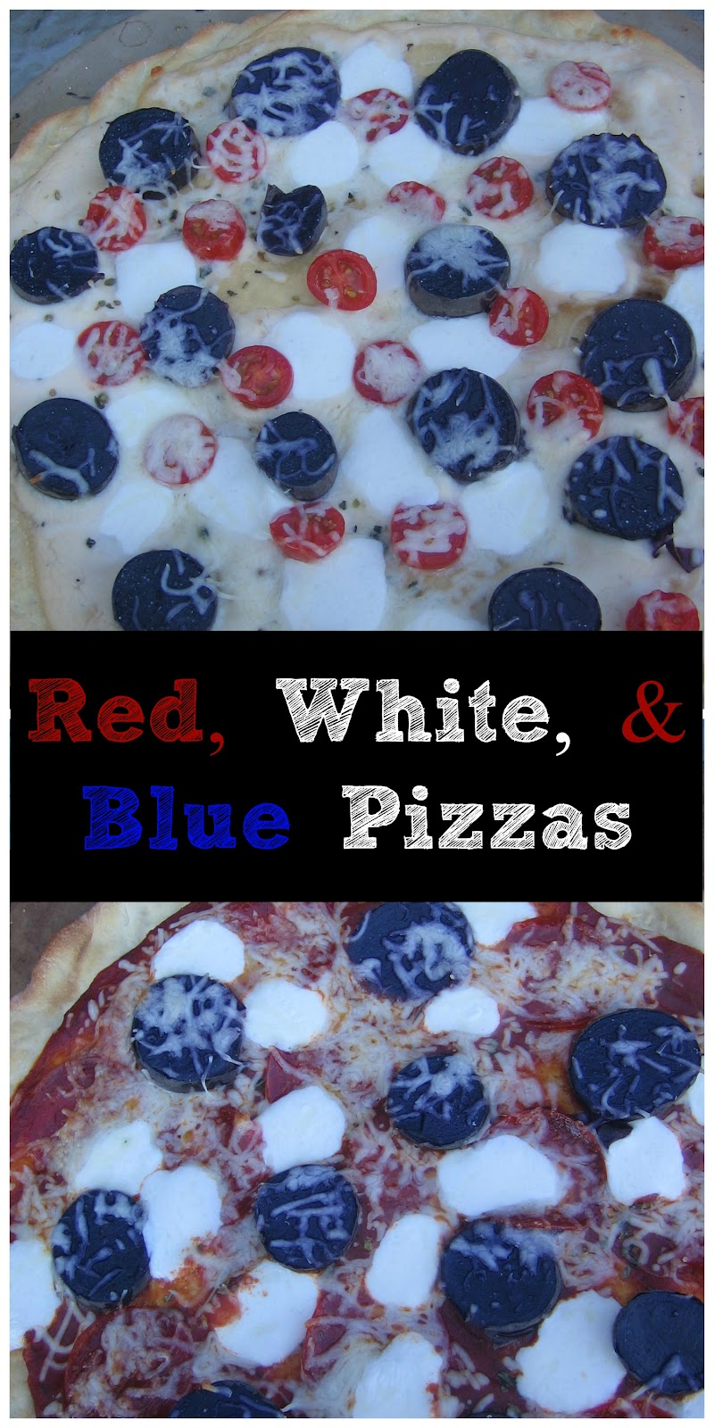 red, white, & blue pizzas