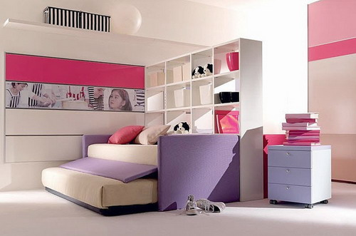 Red purple children trundle bed for girls ideas