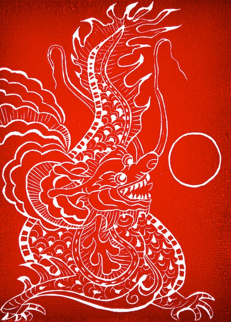 Year of the dragon dragon linocut - Annette frank ...