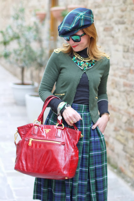 Green and blue tartans, Asos midi skirt, Prada red tote, tartan hat, Fashion and Cookies, fashion blogger
