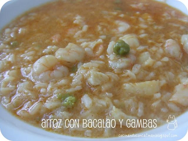 receta de arroz con bacalao y gambas