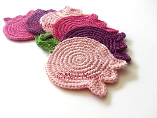Crochet Coasters Spring Tulips