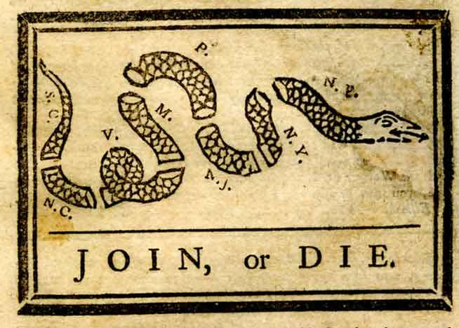 Early American Flags with Snake Motif