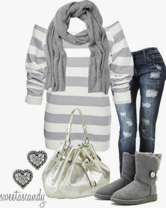 Grey scarf, sweater, jeans, handbag and warm boots for fall
