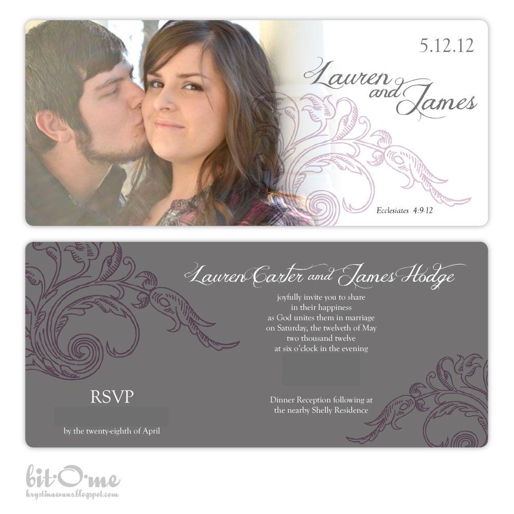 Bit O Me Custom Wedding Invitations Grey And Lavender