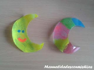 Manualidades infantiles: Pintadas lunas con esmaltes de uñas