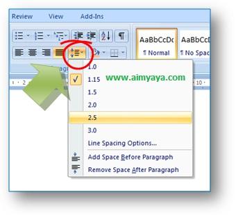 gambar toolbar spasi paragraph microsoft word untuk mengatur spasi paragraf