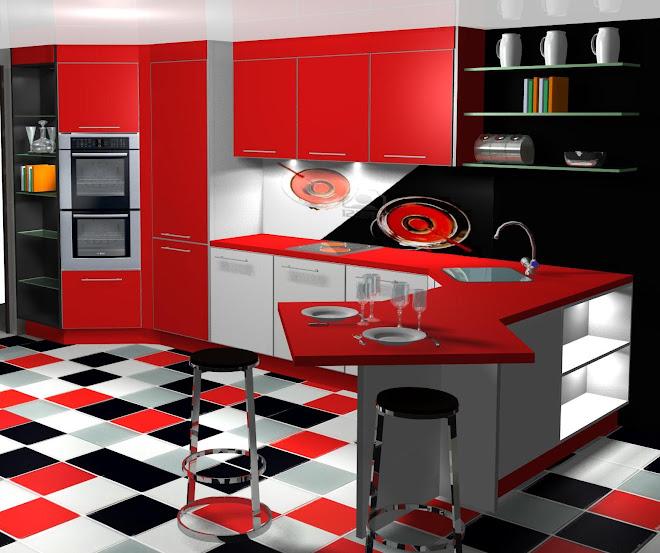 Diseño de cocina con llamativo suelo