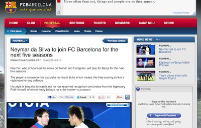 バルセロナがネイマールを5年契約移籍で獲得