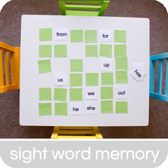 Sight Word Memory | hillmade.blogspot.com | A fun way for beginning readers to learn sight words!