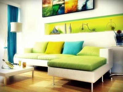 sofá com chaise longue em tecido verde