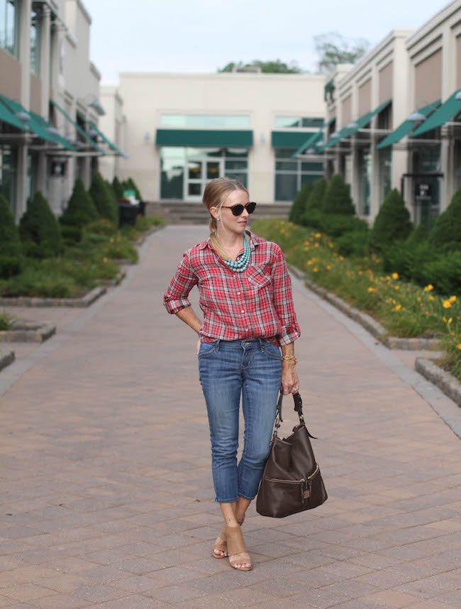 sandra shirt, old navy jeans, humble chic necklace, steven booties
