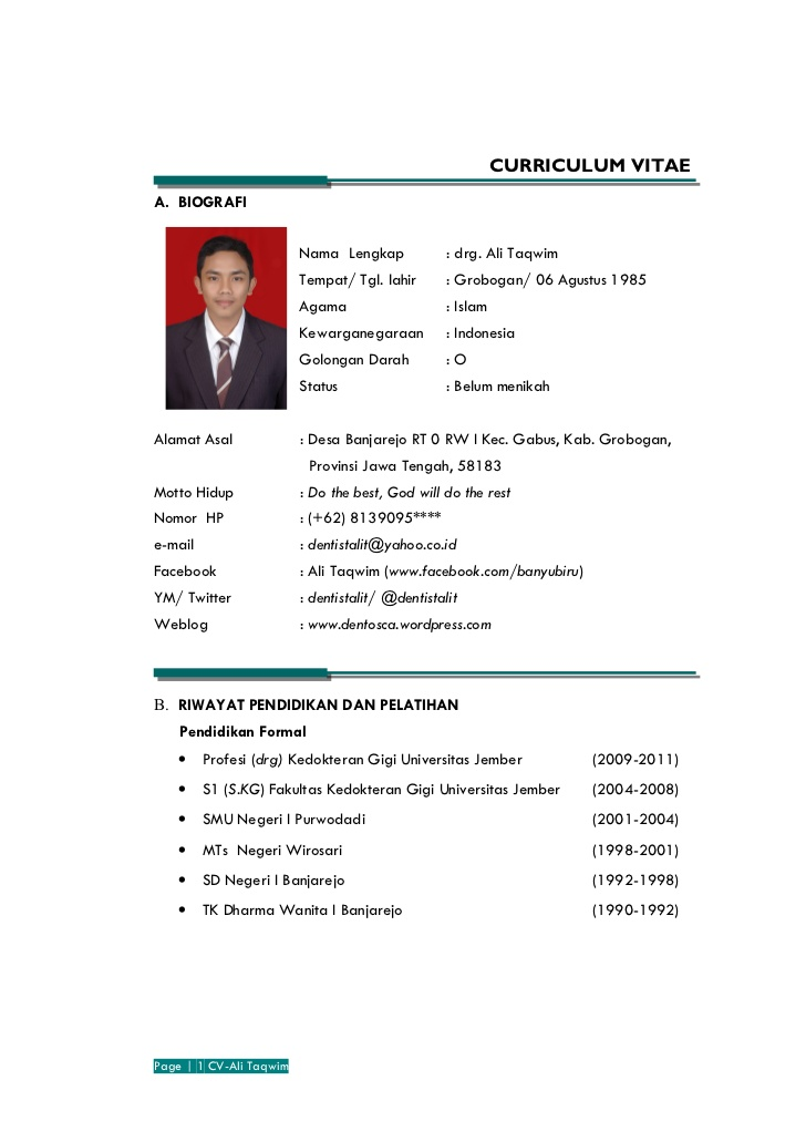 contoh curriculum vitae scholarship