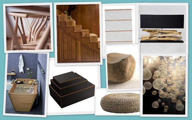 detalles en madera, fibras naturales, negro