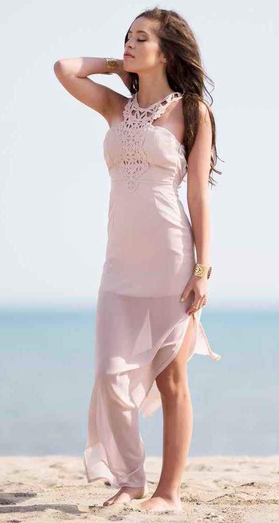 Gorgeous blush maxi dress for a casual or everyday look. Beautiful crochet neck detail.