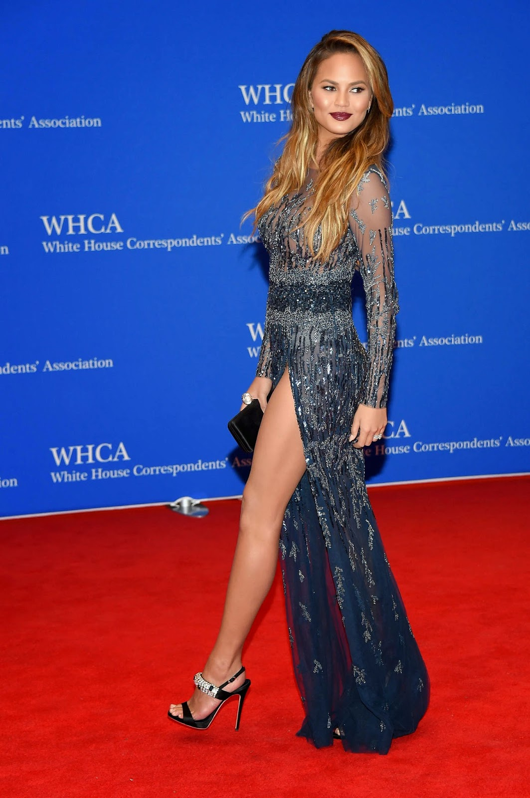 Chrissy Teigen shows off legs for the 2015 White House Correspondents' Association Dinner